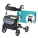 HELAVO folding walker with 4 wheels and seat - lightweight...