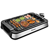 COSTWAY Smokeless Electric Grill with 2-in-1 Non-stick Cooking...