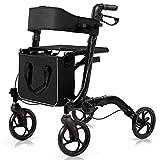 COSTWAY Folding Rollator, 4 Wheels Mobility Walker with Seat,...