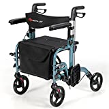 COSTWAY 2 in 1 Rollator Walker & Wheelchair, Folding Wheeled...