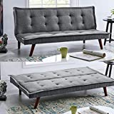 BRAVICH Modern TONI Scandinavian Grey 2/3 Seater Sofa Bed Fabric...