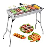 Uten Stainless Steel BBQ Charcoal Grill Smoker Barbecue Folding...