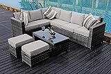 YAKOE 50110 New Conservatory Modular 8 Seater Rattan Corner Sofa...