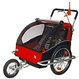 Children Bicycle Trailer & Jogging Stroller Combo-Red/Black...