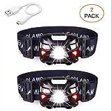 APUNOL 2Packs Head Torch, Rechargeable Waterproof Headlamp LED...