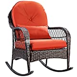 COSTWAY Rattan Armchair Wicker Rocking Sofa Relaxing Lounge Chair...