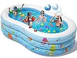 Peradix Paddling Pool Large - 240 x 150 x 60 cm Inflatable...