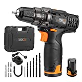 TACKLIFE 12V Cordless Drill Driver with 2 Batteries, 3/8' Metal...