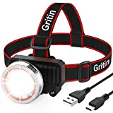 Gritin LED Head Torch, USB Rechargeable Headlamp Headlight -...