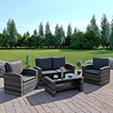 Abreo Mixed Grey Rattan Weave Sofa Set Garden Furniture...