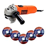 Black + Decker KG115 Angle Grinder with 2 Position Auxiliary...