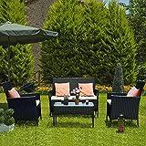 bigzzia Rattan Garden Furniture Set, 4 piece Patio Rattan...